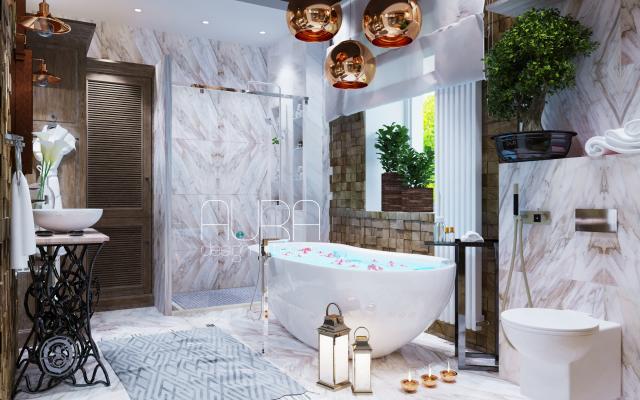 Дизайн ванной комнаты в загородном доме, г. Тула
