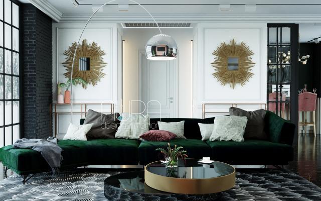 Дизайн гостинной в коттедже, г. Тула