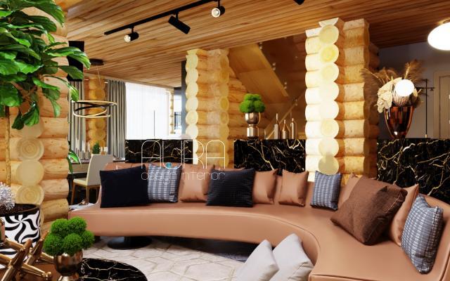 Дизайн гостиной в коттедже, г. Белев
