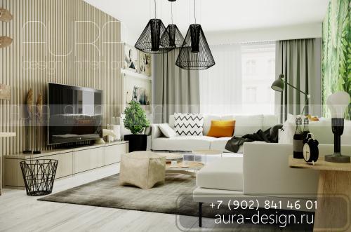 Дизайн гостиной в ЖК «Новогиреевский» г. Москва