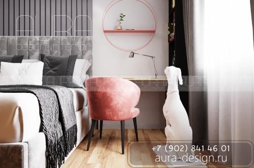 Дизайн спальни в квартире ЖК «ИМЕНА», г. Тула