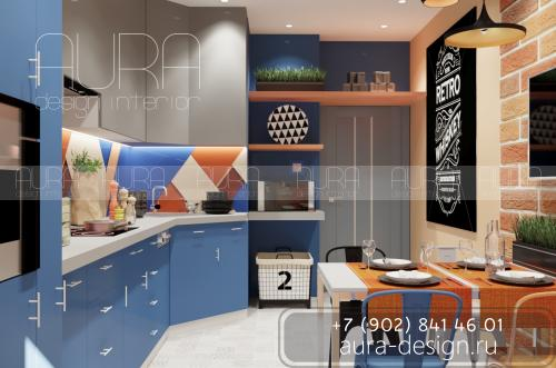 Дизайн кухни в картире на пр. Ленина, г. Тула