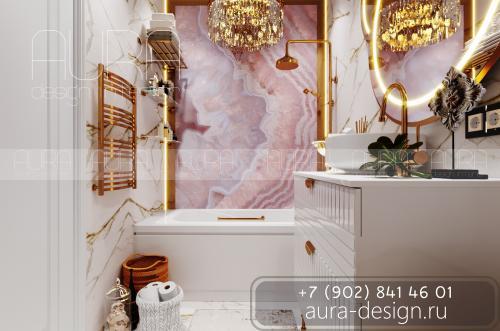 """Дизайн ванны в ЖК """"Зеленстрой"""", г. Тула"""
